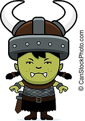 Angry Cartoon Orc Child - A cartoon illustration of an orc...