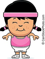 Smiling Cartoon Fitness - A cartoon illustration of an...