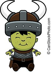 Cartoon Orc Child Sitting - A cartoon illustration of an orc...