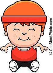 Cartoon Fitness Sitting - A cartoon illustration of an...