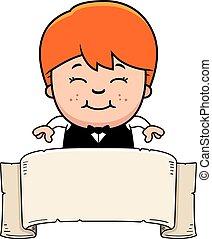 Cartoon Little Waiter Banner - A cartoon illustration of a...