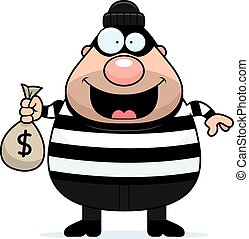 Cartoon Burglar Moneybag - A cartoon illustration of a...