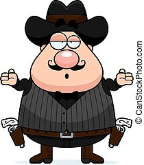 Confused Cartoon Gunfighter - A cartoon illustration of a...