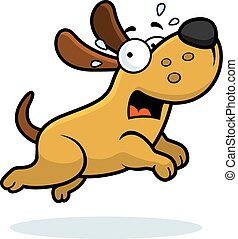 Scared Cartoon Dog - A cartoon illustration of a dog running...