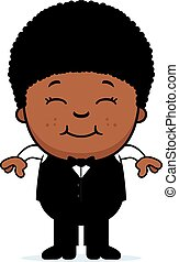 Smiling Cartoon Little Waiter - A cartoon illustration of a...