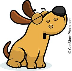 Howling Cartoon Dog - A cartoon illustration of a dog...