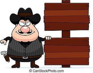 Cartoon Gunfighter Sign - A cartoon illustration of a...