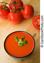 Cold Spanish tomato-based soup gazpacho originating in the...