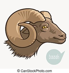 Head of ram - Head of goat or ram Vector illustration for...
