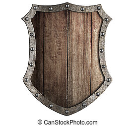 medieval wooden shield isolated