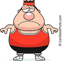 Sad Cartoon Fitness - A cartoon illustration of an...