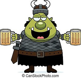 Drunk Cartoon Orc - A cartoon illustration of an orc looking...