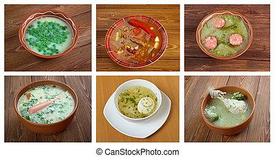 alimento, tradicional, diferente, Conjunto, sopas