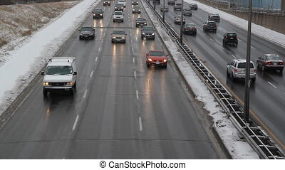 Winter highway. - Gardiner Expressway in winter. Toronto,...