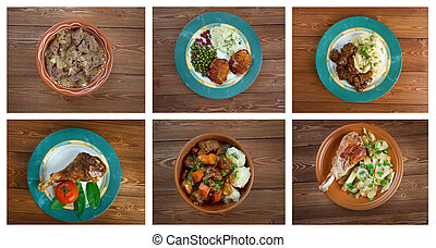 Food set of different  meat . collage