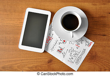 coffee with digital tablet and analytical paper business