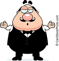 Confused Cartoon Waiter - A cartoon illustration of a waiter...