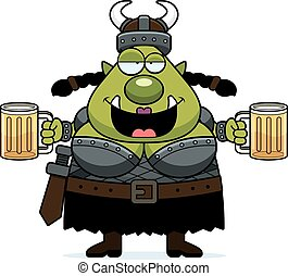Drunk Cartoon Orc - A cartoon illustration of a female orc...