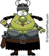 Waving Cartoon Orc - A cartoon illustration of a female orc...