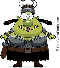 Smiling Cartoon Orc - A cartoon illustration of a female orc...