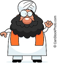 Waving Cartoon Sikh - A cartoon illustration of a Sikh...