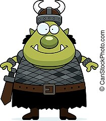 Smiling Cartoon Orc - A cartoon illustration of an orc...