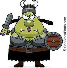 Angry Cartoon Orc - A cartoon illustration of a female orc...