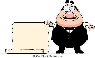 Cartoon Waiter Sign - A cartoon illustration of a waiter...