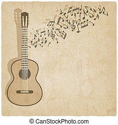 Vintage music guitar background - vector illustration eps 10...
