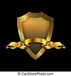 Gold shield and gold ribbon. - Medieval gold riveted shield...
