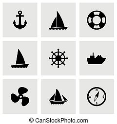 Vector ship and boat icon set on grey background