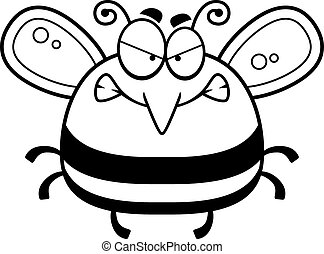 Angry Little Bee - A cartoon illustration of a bee looking...