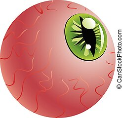 Green Eye of a Monster - Abstract monster eyeball with iris...
