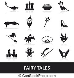 black simple fairy tales theme icons set eps10