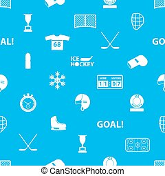 ice hockey sport icons blue and white seamless pattern eps10