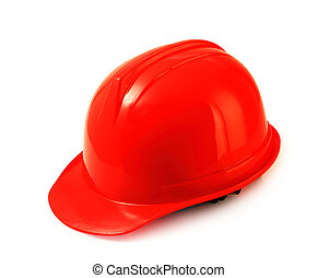 Red safety helmet on white, hard hat isolated clipping path...