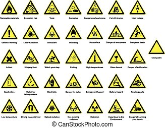 Huge collection of hazard signs