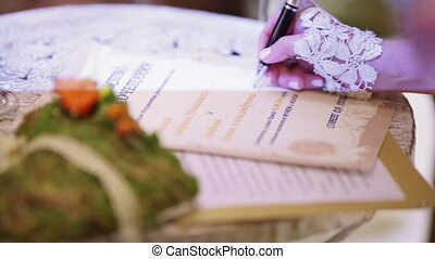 Signature weding vows - Bride sign marriage wedding contract