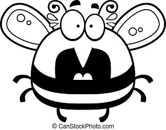 Scared Little Bee - A cartoon illustration of a bee looking...