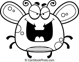 Evil Little Fly - A cartoon illustration of an evil looking...