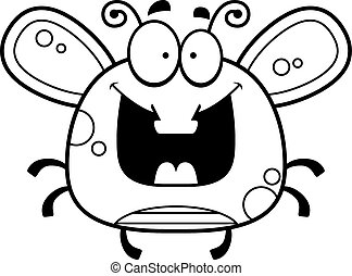 Happy Little Fly - A cartoon illustration of a fly looking...