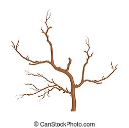 Dead Tree - Abstract Dead Tree Dry Branches Vector Shape...