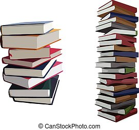 Pile of books - Isolated vector of two pile of books