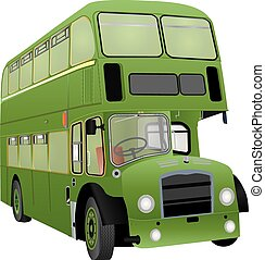 Double Decker Bus - A Vintage Green Double Decker Bus...