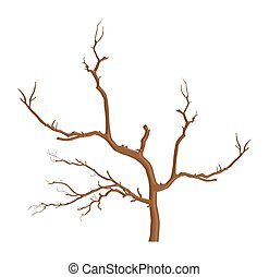 Summer Tree Branches - Abstract Dry Dead Tree Vector Shape...