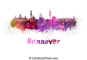Hannover skyline in watercolor splatters with clipping path