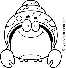 Smiling Little Hermit Crab - A cartoon illustration of a...