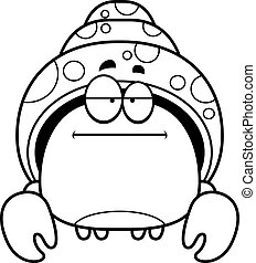 Bored Little Hermit Crab - A cartoon illustration of a...