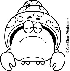 Sad Little Hermit Crab - A cartoon illustration of a hermit...