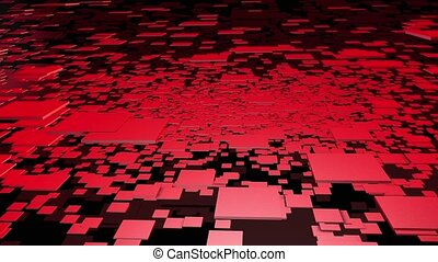Abstract flying square in red color